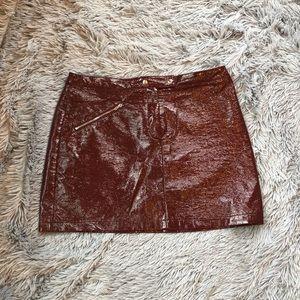 Lulu's patent faux leather shiny skirt